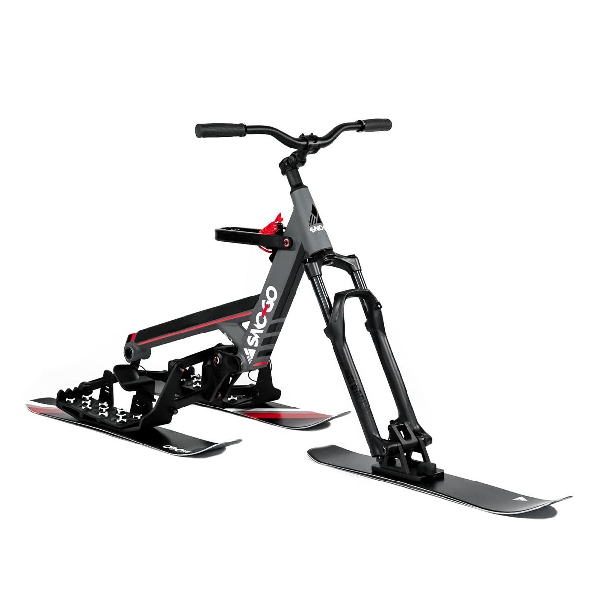 SNO-GO Powder Skis on Grey SNO-GO Bike